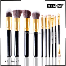 MAANGE long handle soft brush 10 piece makeup kit gold color long handle makeup brush