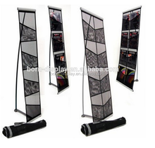 Aluminum Pole and Steel Base that is Chromium Plated A4 4 Layers Double Sided Brochure Holders with Oxford Cloth Bag