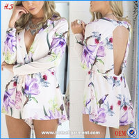 Global newest woman clothes sexy jumpsuits club wear pink floral jumpsuits for women 2015