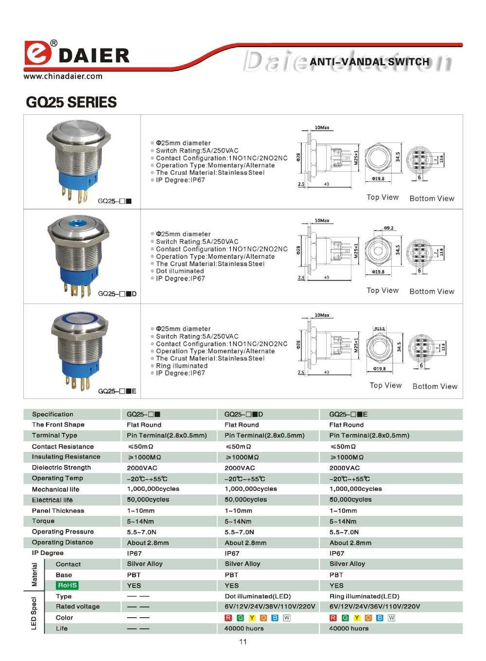 Daier 22mm Led Push Button Switch Buy Vandal Wiring Diagram Anti 12