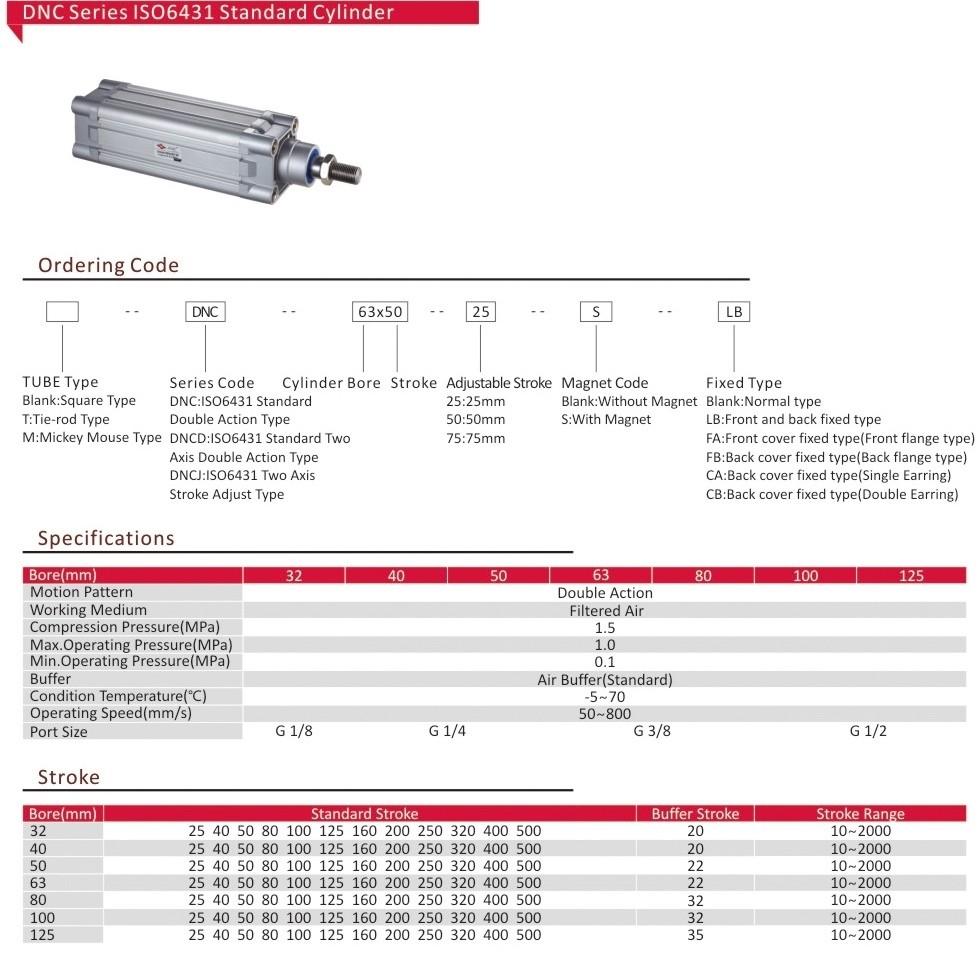 공압 Festo DNC ISO6431 표준 압축 공기 실린더