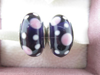 Sterling Silver S925 Oxidised Silver Murano Purple Bubbles Bead Sterling Core Bead Murano Glass Bead Beads