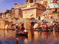 2013 hot selling 100% handmade indian artists scenery oil painting