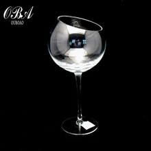 Popular handblown cheap personaliced lead-free crystal wine glass goblet with round drum shape belly