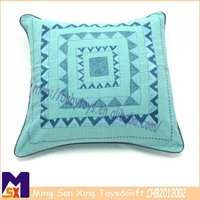 beautiful blue square cushion cover embroidery design soft embroidery cotton cushion cover