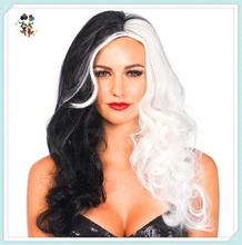 Adult Half Black Half White Synthetic Halloween Party Wigs HPC-1915