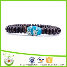 15.5cm natrual matt finished brown color rondelle coconut shell bead stretch bracelet jewelry