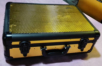 Gold aluminum barber tool case at black frame inner tray and tool board XB-TLMK06
