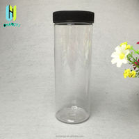 high quality 500ml tube shape refillable food tea herb dry flower spice storage containter plastic jar