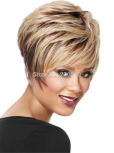 Women Short American African Wigs White European Synthetic Ombre Kanekalon Fiber Jewish Kosher U Part Wig