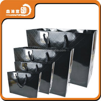 cotton handle shopping black paper bag