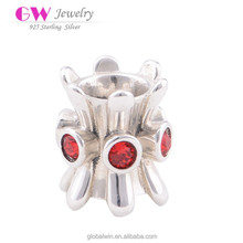 Cheap Silver Plated Wholesale Custom Made Ruby Wine Glass Charms X032