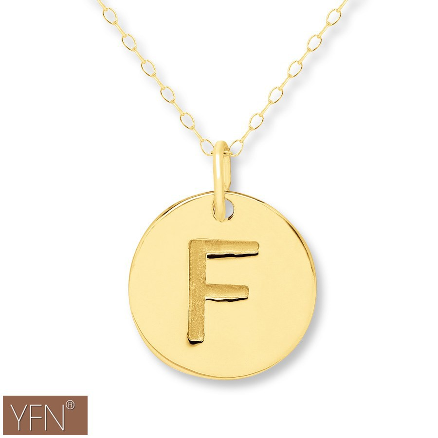 Wholesale 14k gold initial f disc necklace buy necklace for Wholesale 14k gold jewelry distributors
