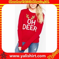 Custom made european style fitness red cotton/polyester graphic warm winter sweater for women