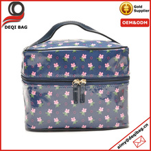 PVC coated flower train case cosmetic makeup bag