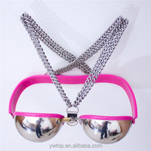 stainless steel and Silicone Female chastity device Adult Games Products Bra Chastity Belt Clothes Pink black blue Sex Toys