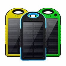solar power bank portable waterproof Panel Shockproof mobile solar phone charger with usb ports Flashlight for CellPhone