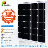 Powerwell 5W 10W 25W 35W 50W 65W 70W 90W 100W 140W 150W 185W 200W 245W 280W 300W High transmissiom rate Monocrystal solar panel