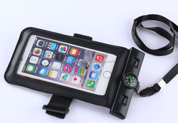 black waterproof smartphone bag with compass