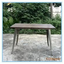 Wooden Dining Table Vintage Metal Legs Wood Restaurant Table GA101T