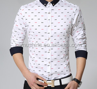 2015 new design fashion Korean slim fit printed men casual shirts