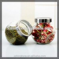 oblate drum shape glass storage jar with electroplating cap180ml/370ml
