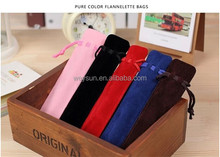 good quality crystal ballpoint velvet pen bag pen pouch pen case with rope 6 colors