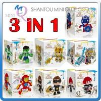 Mini Qute Lele Brother 7 styles 3 in 1 Marvel Captain America Avenger super hero plastic building blocks brick educational toy