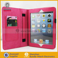 Credit card slot wallet leather case for apple ipad 5