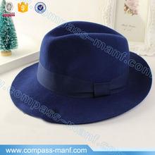 Choies Women Men Woolen Plain Blue Felt Fedora