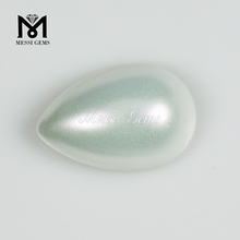 New Arrival Pear Cut 10 x 15 White Pearl Flat Bottom Glass Gems