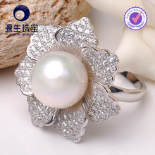 fashion 925 silver ring full finger wholesale with freshwater pearl