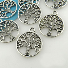Popular item wholesale pewter tree of life round holow out charm pendant