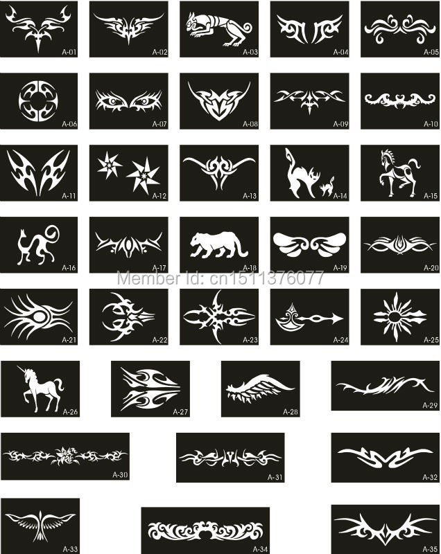 50 Mixed Design Sheets Stencils for Body Painting Glitter Temporary Tattoo Kit – Free shipping