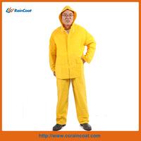 Yellow adult pvc 2-piece waterproof plastic rain suits