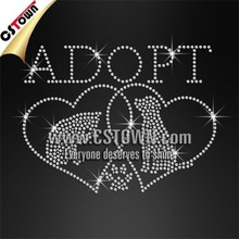 Adopt cats and dogs rhinestones wholesale custom iron on designs