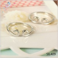 Fashion adjustable ring with white diamonds, silicone wedding ring, SIL 409