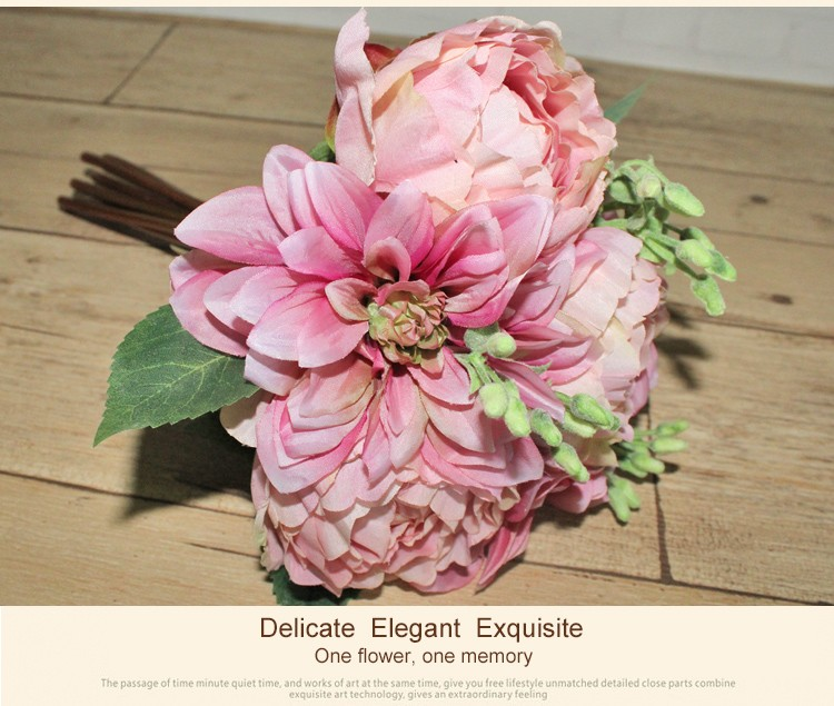 Wholesale High Quality Artificial Peonies Dahlias Bouquets Fake ...