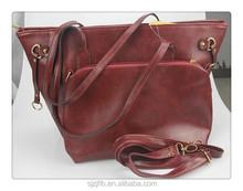 Fashion 3 piece set woman tote bag pu leather lady handbag designer shoulder bag