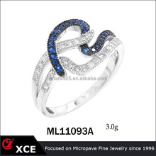 Sapphire color silver jewelry line shape landy ring in Guangzhou