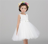 Popular Western Girls Party Wear Dress Hand Made Beautiful Beads Puffy Kids Evening Party Dresses