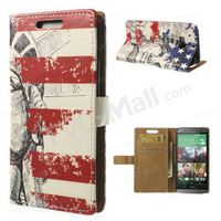 Statue of Liberty & US Flag Pattern Wallet Leather Case w/ Stand for HTC One M8