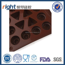 New design silicone 3 shape with 4 triangles chocolate molds