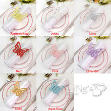 LiNg's Butterfiy Paper Napkin Ring Wedding Party Shower Favor Decoration 8 Colors Upick
