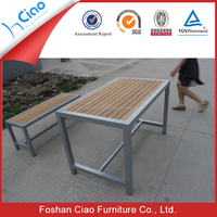 Used aluminum frame teak wood top dining table