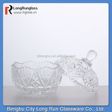 Mini carved food storage glass container high quality wholesale