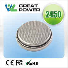 manufacture110mah Lithium ion rechargeable button cell LIR2450 3.7V battery