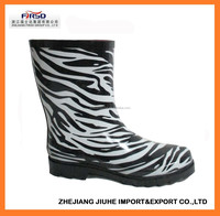 Cheap Rubber Boots with Zebra printing for Women