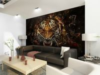 wholesale Eco-friendy 3d huge tiger mural painting for walls brave tiger bedroom living room sofa tv wallpaper murals