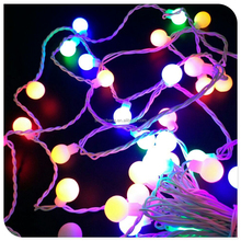 50 LED multicolor ball string light with adaptor outdoor use led christmas lights for holiday decoration,street lights